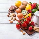 Selección de comida de la alergia, concepto sano de la vida Imagen de archivo libre de regalías