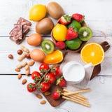 Selección de comida de la alergia, concepto sano de la vida Fotografía de archivo