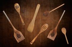 Cucharas de madera Foto de archivo libre de regalías