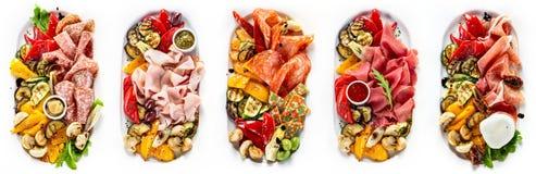 Selección de diferentes tipos de carne y de salchicha Fotos de archivo