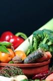 Selección de frutas y verduras frescas Foto de archivo libre de regalías