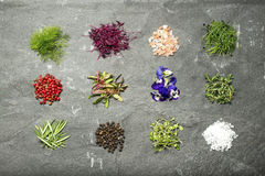 Selección de hierbas micro en una endecha del plano del fondo de la pizarra Imagen de archivo libre de regalías