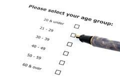 Selección de la categoría de edad Imágenes de archivo libres de regalías