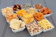 Selección de los snacks foto de archivo libre de regalías