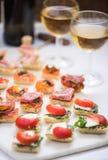 Selección de tapas de los antipasti servidos con el vino Fotografía de archivo libre de regalías