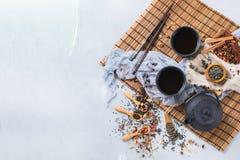 Selección de tetera herbaria china japonesa del té del masala Foto de archivo