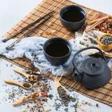 Selección de tetera herbaria china japonesa del té del masala Fotos de archivo libres de regalías