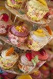 Selección de tortas de la taza Fotografía de archivo
