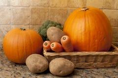 Selección de verduras crudas frescas en una cesta Imagen de archivo libre de regalías