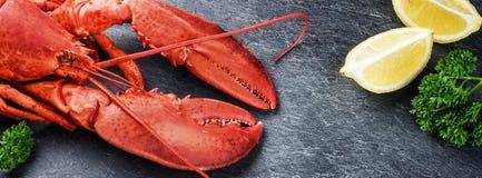 Selección fina de crustáceo para la cena Langosta cocida al vapor con el le foto de archivo