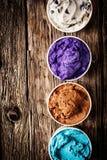 Selección gastrónoma de helado o de yogurt congelado Foto de archivo libre de regalías