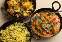 Selección india de la comida del curry Fotografía de archivo libre de regalías