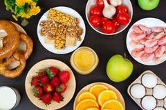 Selecci?n de comida de la alergia, concepto sano de la vida imagen de archivo