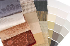 Selección de color de la tapicería y de la cortina de la tapicería Foto de archivo libre de regalías
