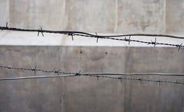 Seleccione el alambre de púas viejo y oxidado del foco en la cerca Fotos de archivo