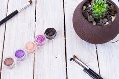 Seleccione el color deseado para el maquillaje De entonado de colores Imagen de archivo libre de regalías