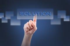 Selecionando a solução do botão em um écran sensível Imagens de Stock Royalty Free