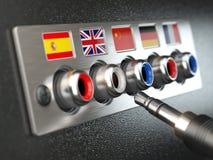 Selecione a língua Aprendendo, traduza as línguas ou o guia audio co ilustração royalty free