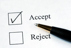 Select the Accept option. With a pen Stock Image