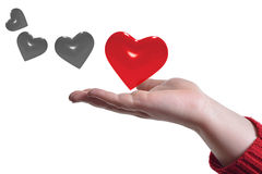 Select best heart. Red heart over hand (Select best heart Royalty Free Stock Photo