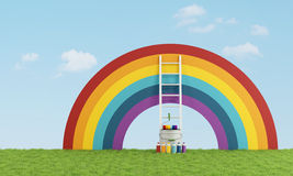 Select color swatch to paint the sky. With a rainbow - 3D Rendering Stock Image