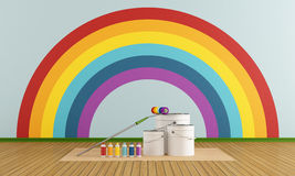 Select color swatch to paint wall with rainbow col Stock Image
