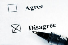 Select the Disagree option. With a pen Stock Photos