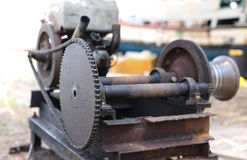 Select focus old and rusty engin with chain Royalty Free Stock Images