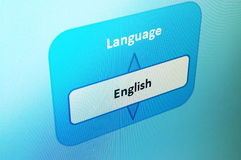 Select language. Select english language on a internet website Stock Image