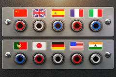 Select language. Learning, translate languages or audio guide co Stock Images