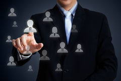 Select team leader. Human resources officer choose employee standing out of the crowd, Select team leader concept Royalty Free Stock Photography