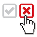 Select Wrong. Mouse hand select the wrong cross vector illustration