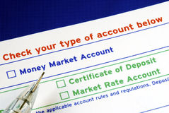 Select your bank account in the deposit slip Royalty Free Stock Photo