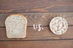 Select your diet wholemeal bread. Wholemeal bread and selection types Royalty Free Stock Photo
