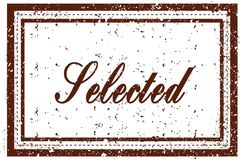 SELECTED brown square distressed stamp Royalty Free Stock Images