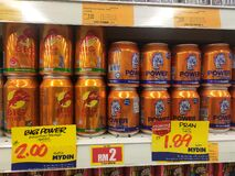 Selected focused on energy drinks in various brands that are on display on the sales shelves.