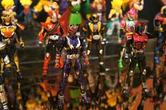 Selected focused on fictional character action figure from Japanese popular series KAMEN RIDER. stock photo