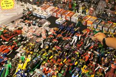 Selected focused on fictional character action figure from Japanese popular series KAMEN RIDER. royalty free stock photography