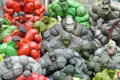 Selected focused of Hulk character action figures from Marvel Comic. stock photo