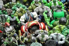 Selected focused of Hulk character action figures from Marvel Comic. stock photography