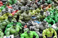 Selected focused of Hulk character action figures from Marvel Comic. royalty free stock image