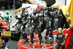 Selected focused of IRON MAN character action figure from Marvel Iron Man comics and movies. stock photos