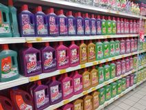 Selected focused on liquid detergent displayed on the rack inside the huge supermarkets. KUALA LUMPUR, MALAYSIA -JULY 12, 2019: Selected focused on liquid stock photos