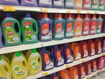 Selected focused on liquid detergent displayed on the rack inside the huge supermarkets. KUALA LUMPUR, MALAYSIA -JULY 12, 2019: Selected focused on liquid royalty free stock photography