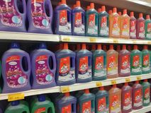 Selected focused on liquid detergent displayed on the rack inside the huge supermarkets. KUALA LUMPUR, MALAYSIA -JULY 12, 2019: Selected focused on liquid royalty free stock photo