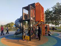 Free Selected Focused On Modern Children Outdoor Playground In The Public Park. Stock Photography - 189279342