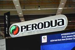 Selected focused on Perodua car and commercial brand emblem logos. KUALA LUMPUR, MALAYSIA -MARCH 23, 2018: Selected focused on Perodua car and commercial brand royalty free stock photography