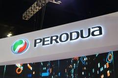 Selected focused on Perodua car and commercial brand emblem logos. KUALA LUMPUR, MALAYSIA -MARCH 23, 2018: Selected focused on Perodua car and commercial brand stock photos