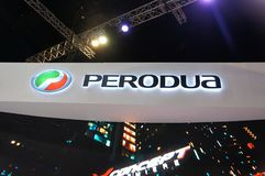 Selected focused on Perodua car and commercial brand emblem logos. KUALA LUMPUR, MALAYSIA -MARCH 23, 2018: Selected focused on Perodua car and commercial brand stock images