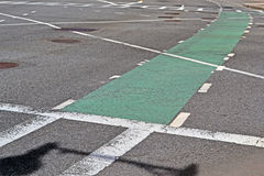 Selected green line for bikes, modern transportation, Royalty Free Stock Photos
